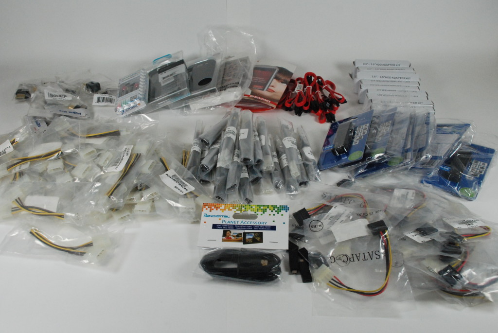 Don't miss out on this Wholesale Clearance Lot of Electronics Computer Components Headphones, Mobile accessories, HDMI, ATX Cables, Angle Adapters, SATA Cables