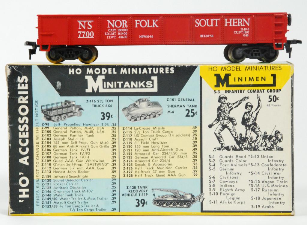 Vintage Rivarossi AHM HO Scale 40-foot Norfolk & Southern NS 7700 Open Gondola 5434/5531-D/5534
