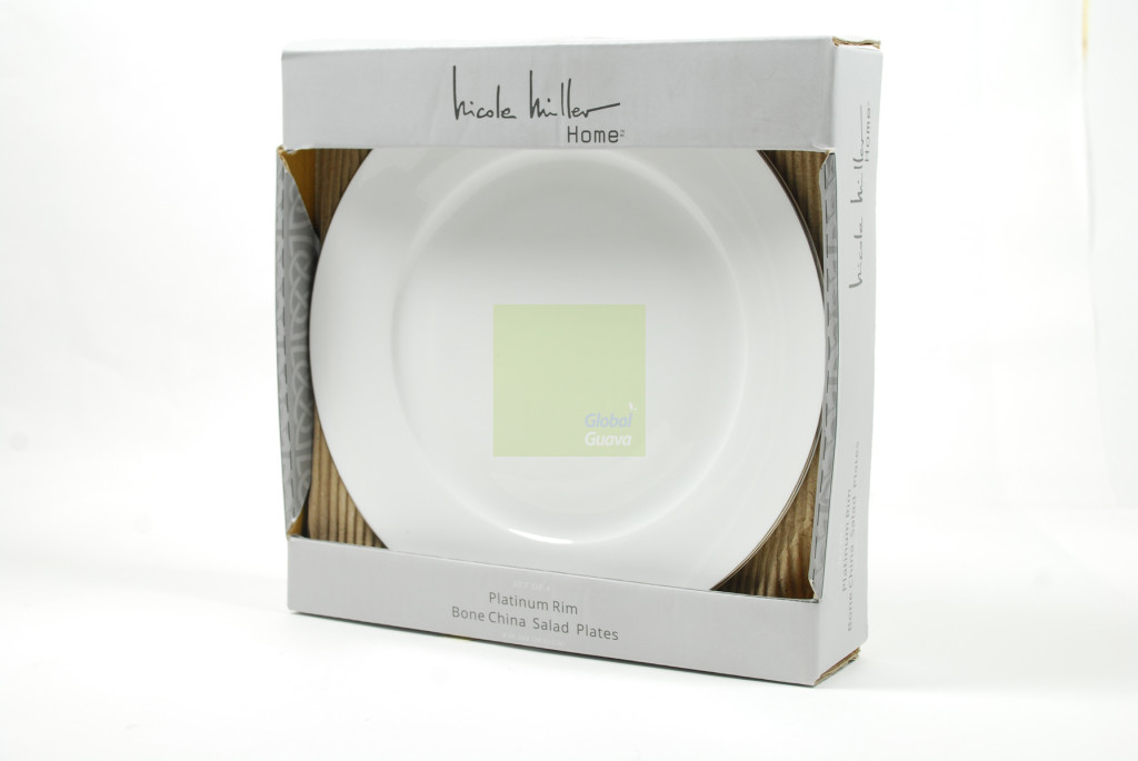 "NICOLE MILLER HOME Set of 4 Platinum Rim Bone China 8"" White Salad Plates"