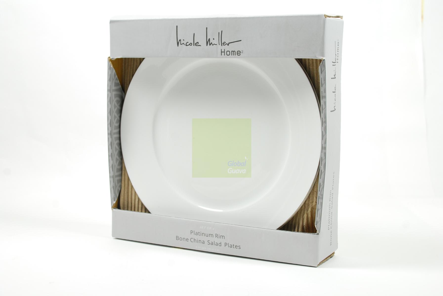 NICOLE MILLER HOME Set of 4 Platinum Rim Bone China 8\  White Salad Plates  sc 1 st  Global Guava & Dinner and Drinks All On Nicole Miller Ralph Lauren and Nambé ...