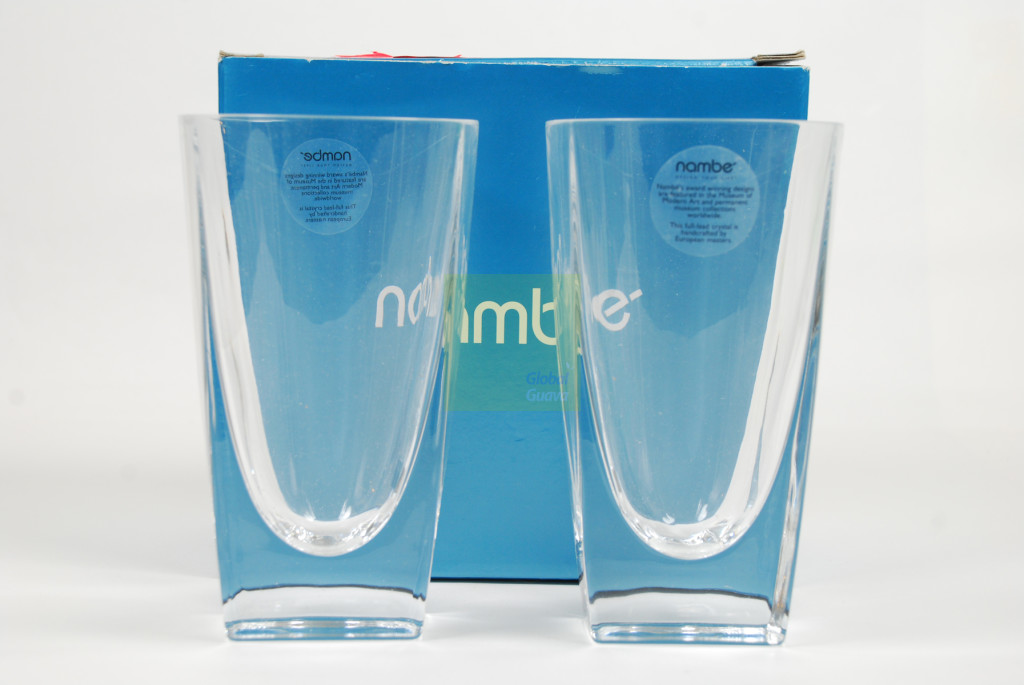"NAMBÉ Crystal Set of 2 Klasp 6"" Highball Glasses 16 oz. Pair of Nambe Hiball Barware - Style #5898"