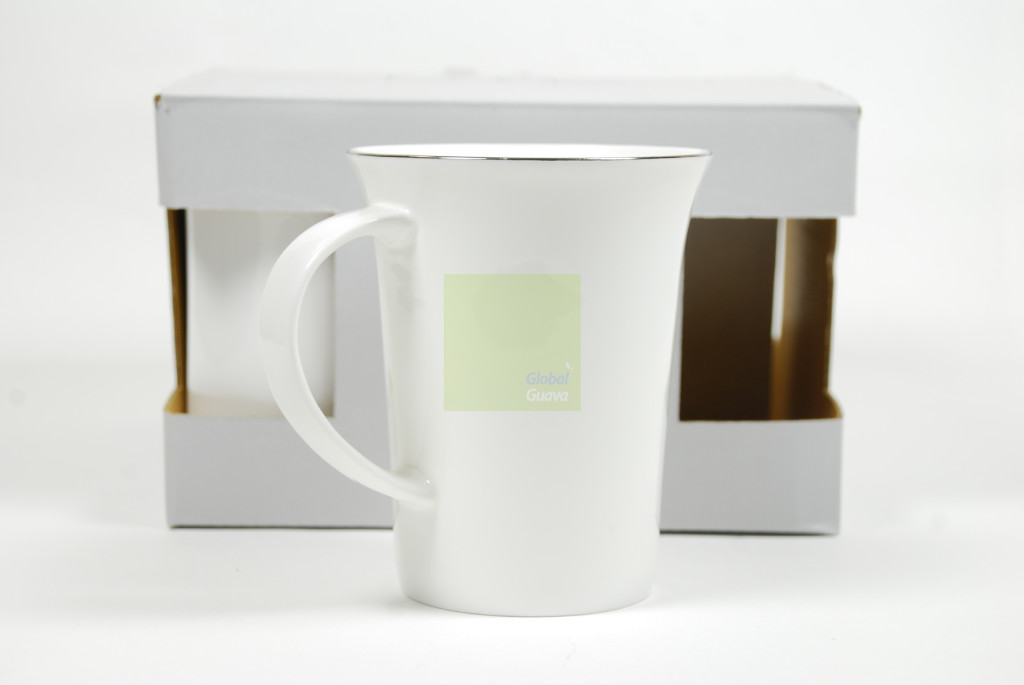 Set of 4 NICOLE MILLER HOME Platinum Rim Bone China White Mugs - 12.85 Fl Oz Mug