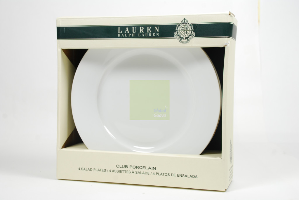 "LAUREN By RALPH LAUREN Club Porcelain Set of 4 White 8.25"" Salad Plates Style #550-LR038-202"
