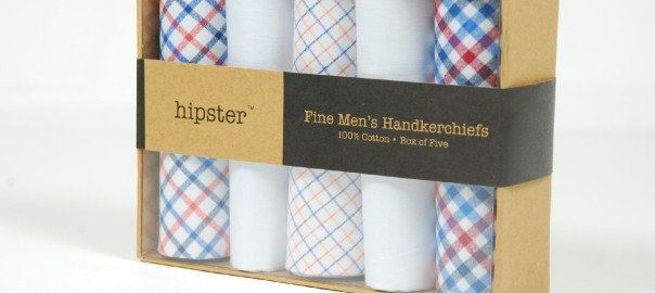 HIPSTER 100% Cotton Fine Men's Handkerchiefs - Box of Five - 2 Plain White, 3 Gingham/Checkered