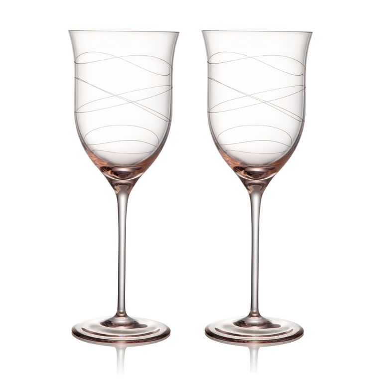 NAMBÉ Crystal Set of 2 Motus Goblet 16 oz. Pink Pair Stemware Glasses Nambe - Style #5886